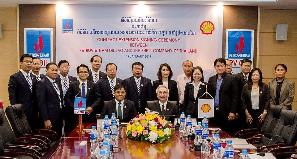 Shell team gathered at a ceremony