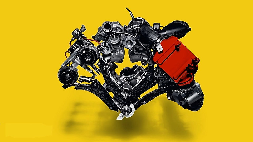 Turbocharging machinery with yellow background