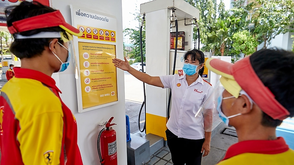 Shell looks after the safety and well-being of its customers by ensuring cleanliness and safety standards are maintained.